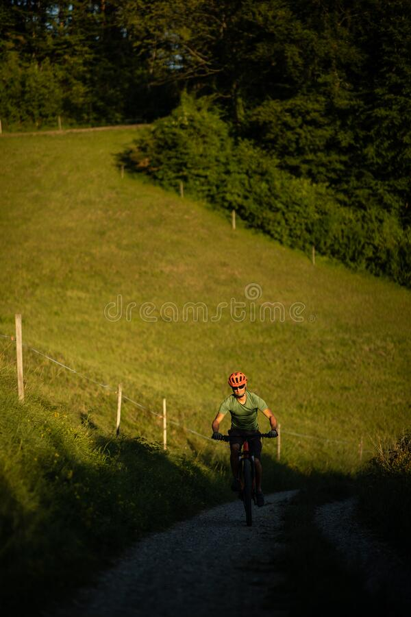 Handsome young man biking on a mountain bike royalty free stock images