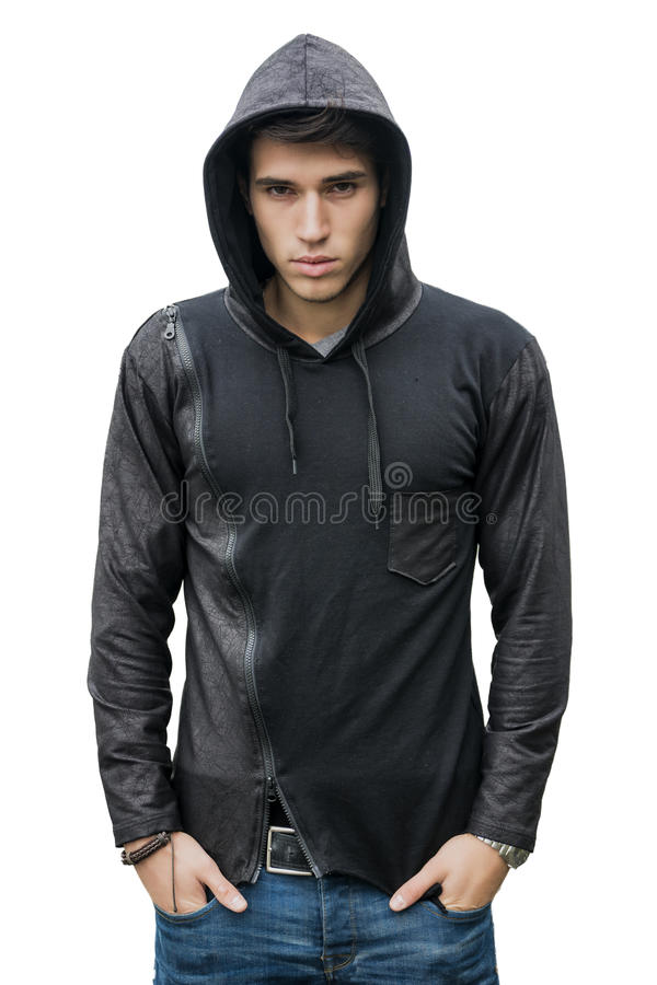 Handsome young man in black hoodie sweater isolated on white stock photos