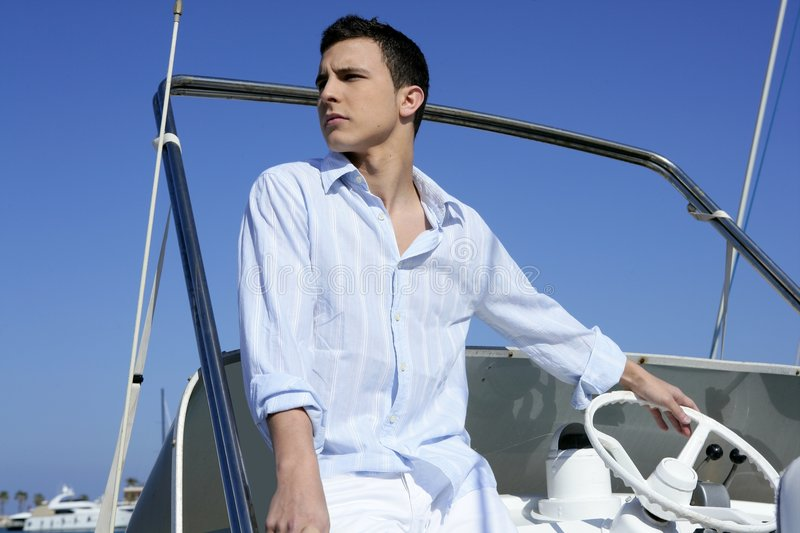 Download Handsome Young Man On Boat, Summer Vacation Stock Photo - Image: 8714438
