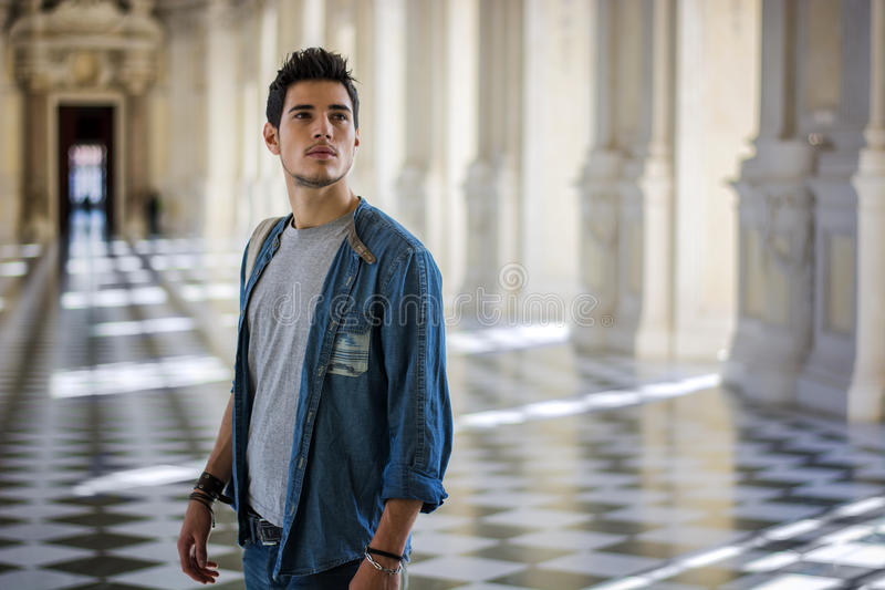 Handsome Young Man Inside a Museum royalty free stock images