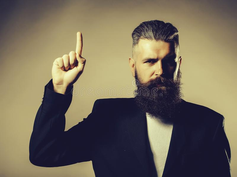 Bearded handsome man in jacket stock photos