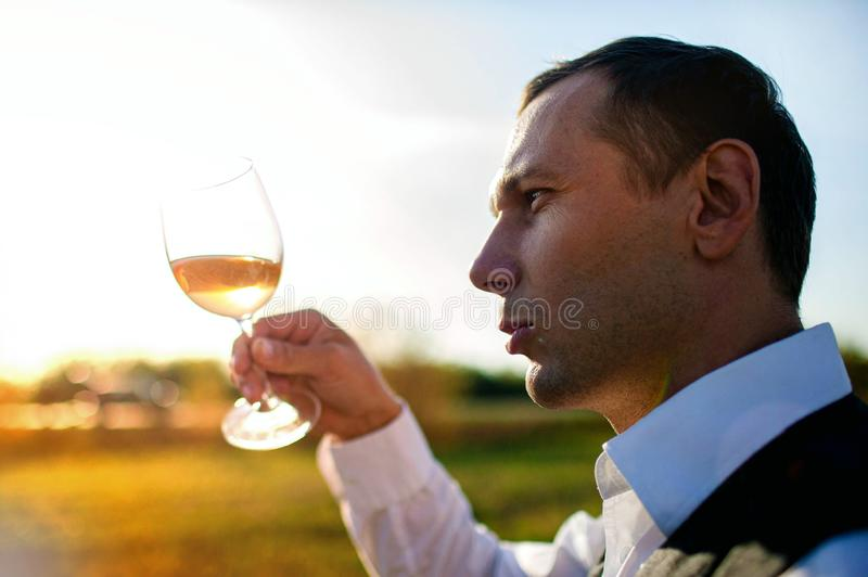 Handsome young man looking glass of wine before drinking in nature. stock images