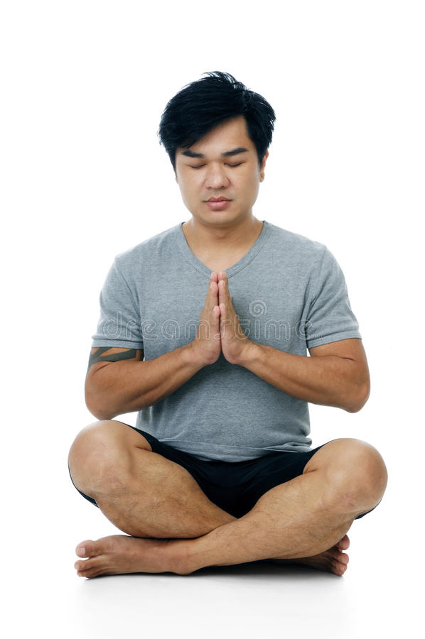 Download Handsome Young Man In Meditation Pose Stock Photo - Image: 13966728
