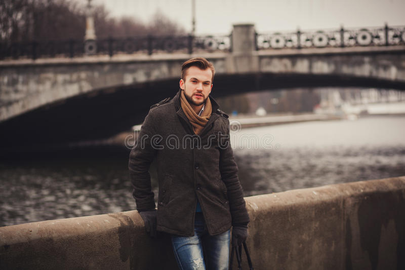 Handsome young man outdoor stock image