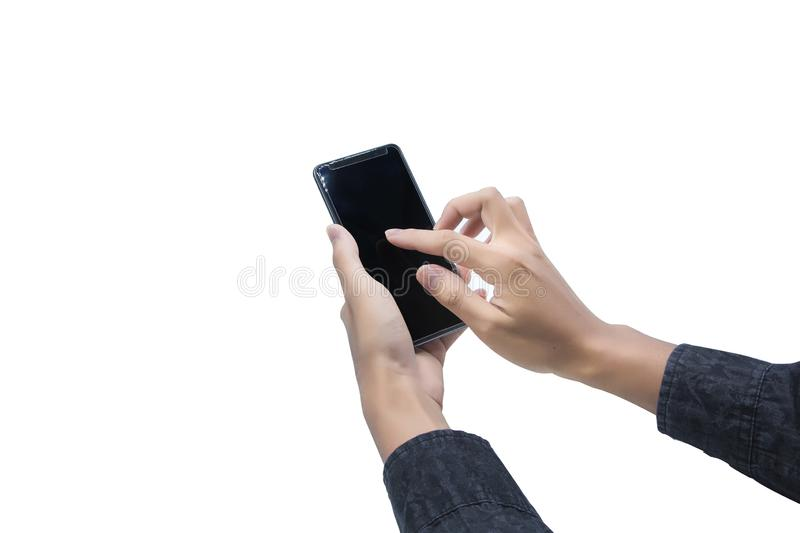 Handsome young man playing cellphone. Or printing financial and business information. On a white backdrop royalty free stock photography