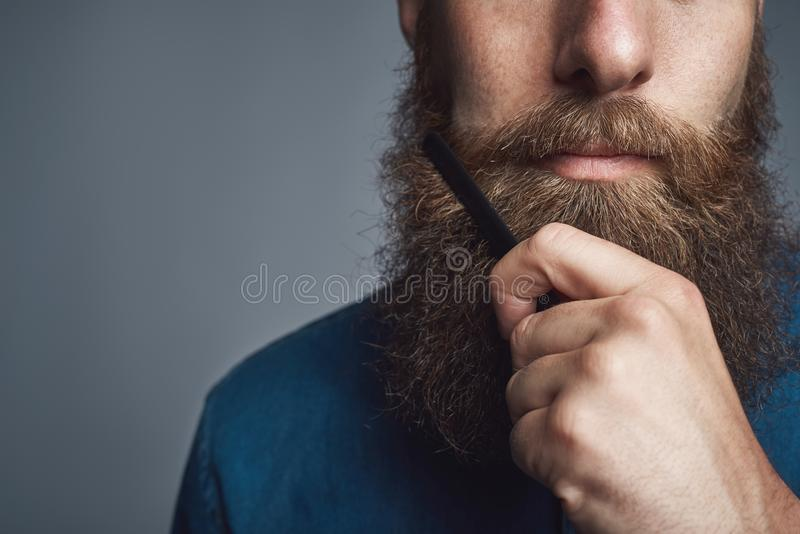Handsome young man styling his beard with a comb. Closeup of a young man styling his long beard with a comb while standing alone in a studio against a gray royalty free stock images