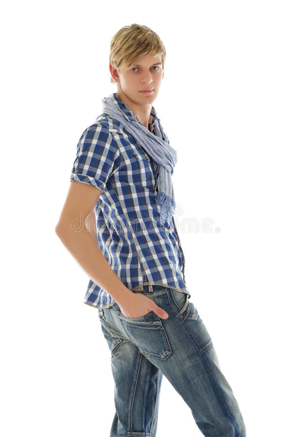 Handsome young man, twisted royalty free stock photos