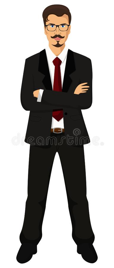 Handsome young manager business man wearing glasses. Vector illustration of a handsome young manager business man wearing glasses  isolated on white background stock illustration