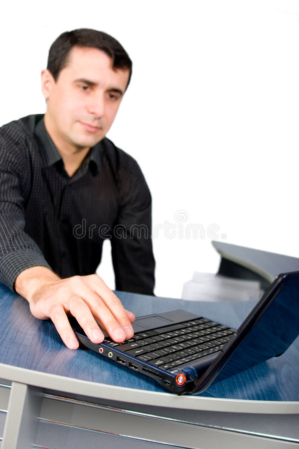 Download Handsome Young Manager Working With Laptop Stock Image - Image: 7235555