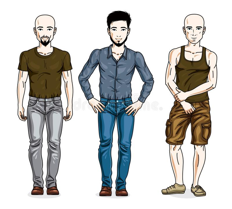 Handsome young men posing wearing casual clothes. Vector set of. Beautiful people illustrations vector illustration