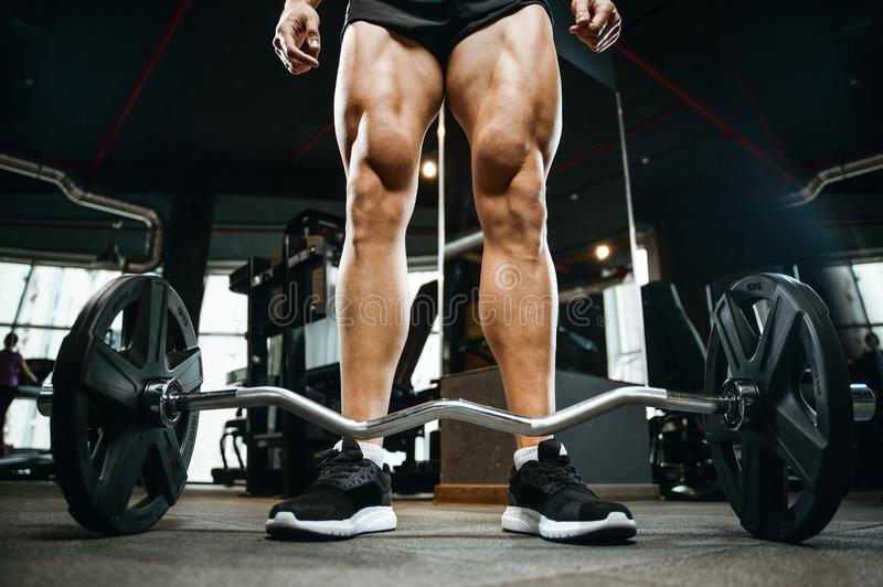 Handsome model young man training legs in gym. Handsome young muscular Caucasian man of model appearance working out in the gym training legs quadriceps and royalty free stock images