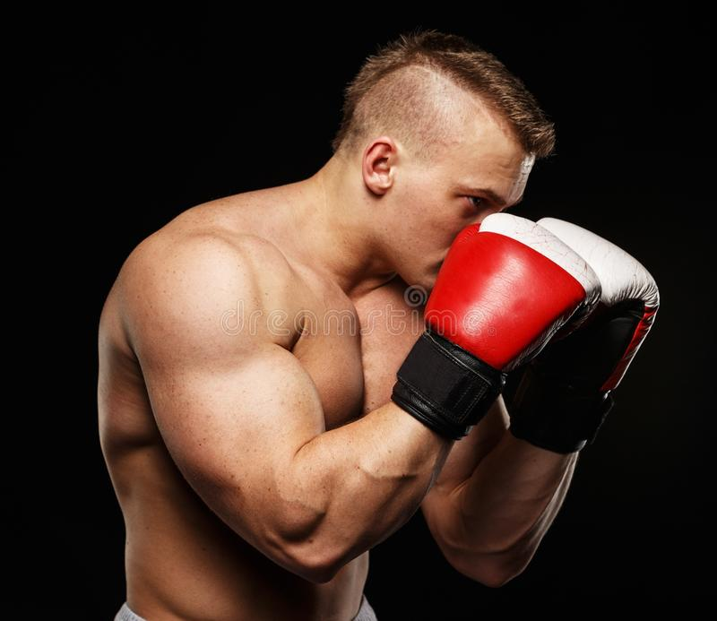 Handsome young muscular man. Handsome muscular young man wearing boxing gloves stock images