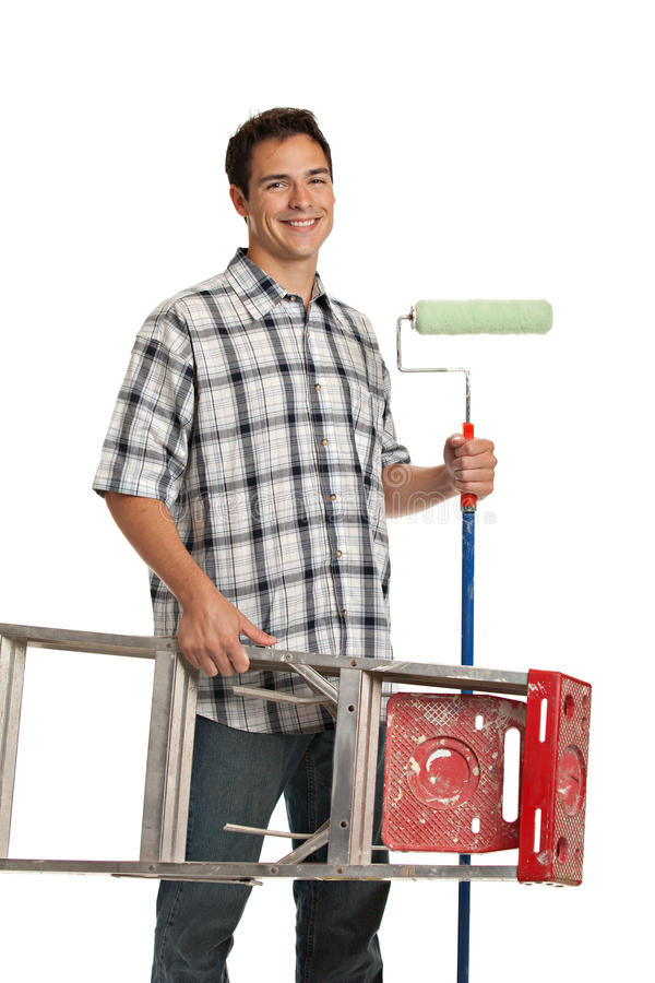 Handsome Young Painter Holding Roller