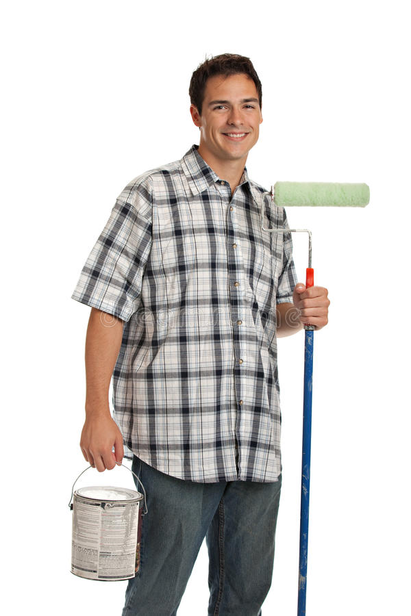 Handsome Young Painter Holding Roller Royalty Free Stock Image