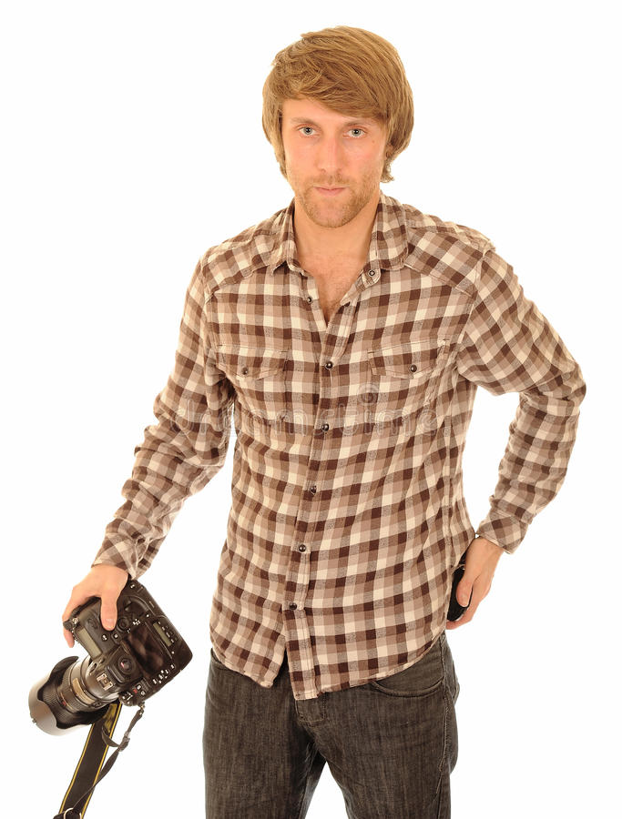 Handsome young photographer. Handsome young man in casual clothes with digital SLR camera; isolated on white background stock photos