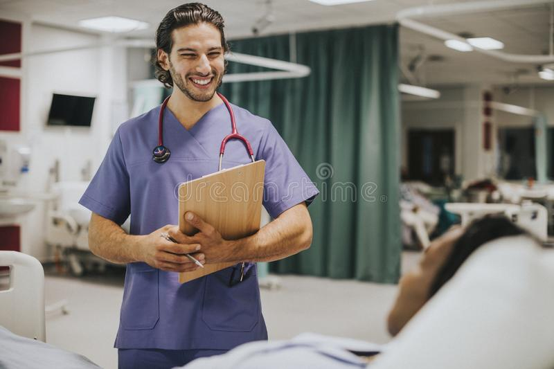 Handsome young physician at a hospital royalty free stock photos
