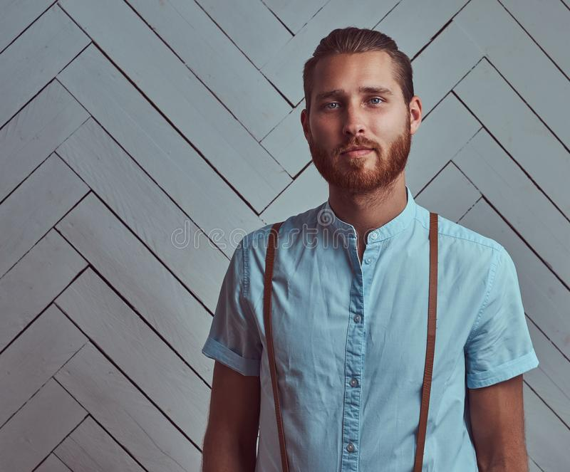 Handsome young retro stylish redhead man in suspenders posing against a white wall in a studio. stock images