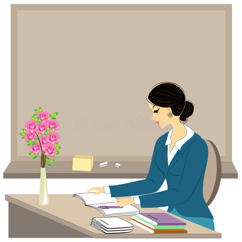 Handsome young teacher. The girl is sitting at the table near the window. A woman writes in a class journal. Vector illustration.  stock illustration