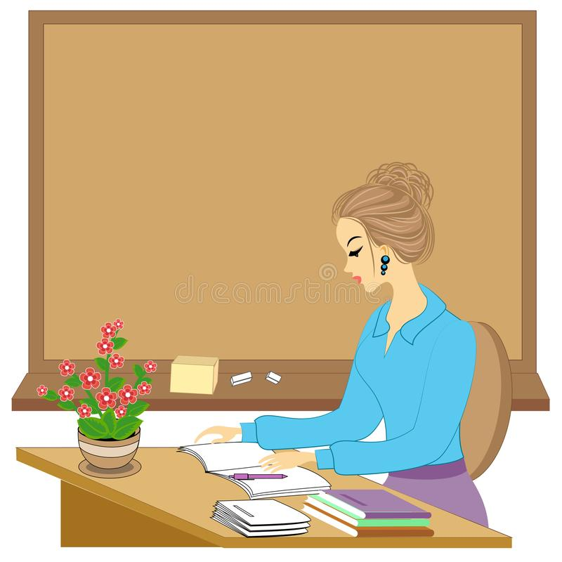 Handsome young teacher. The girl is sitting at the table near the window. A woman writes in a class journal. Vector illustration.  royalty free illustration