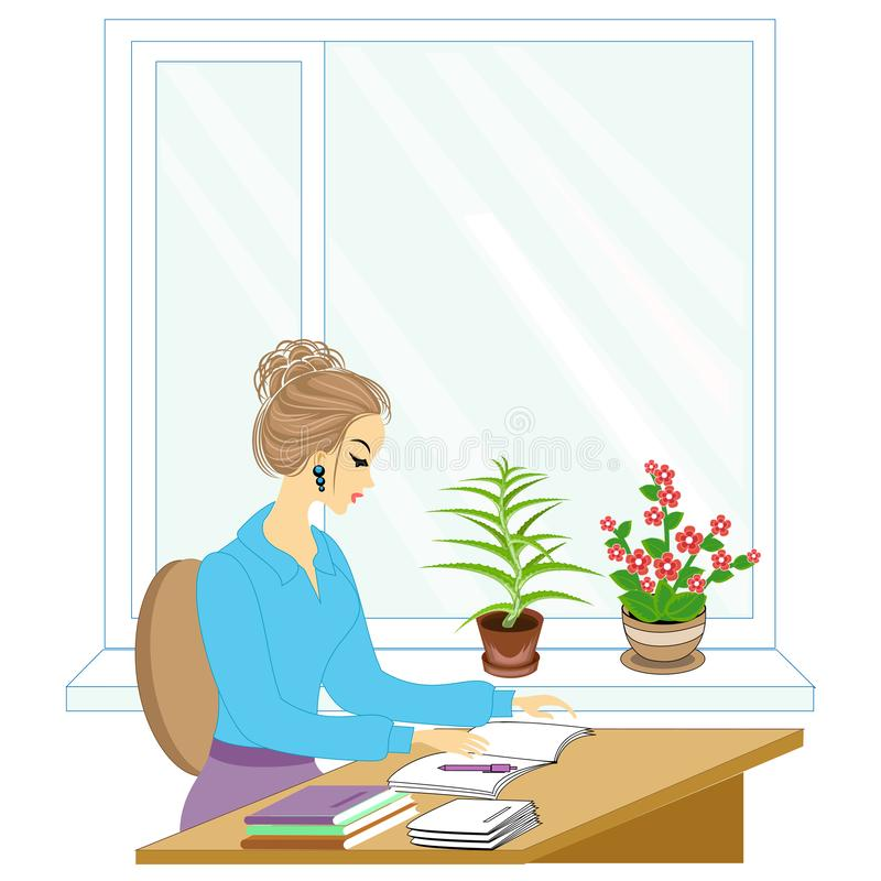 Handsome young teacher. The girl is sitting at the table near the window. A woman writes in a class journal. Vector illustration.  vector illustration