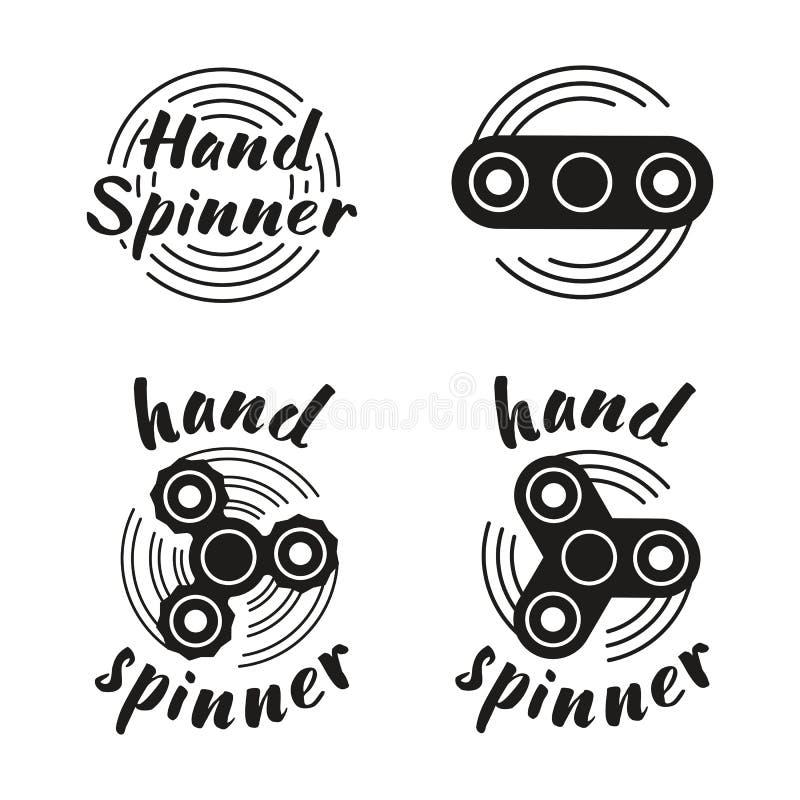 Handspinnareemblem vektor illustrationer