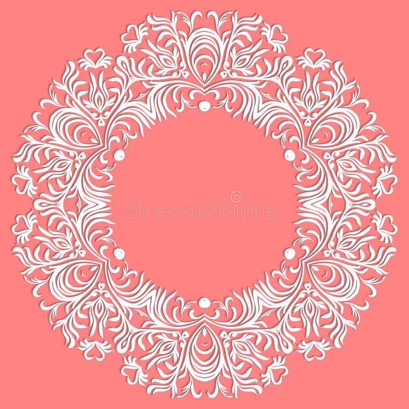 Handspitze Serviette Schöne elegante Weinlese gestrickte Spitzen- Serviette Tischschmuck oder Hochzeitseinladung Rundes Spitzemus stock abbildung