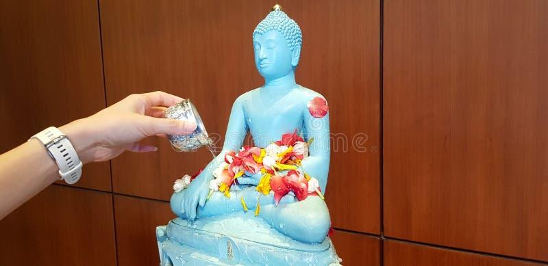 Handspritzendes oder strömendes Wasser zu hellgrüner oder blauer Buddha-Statue mit roter Rose des Blumenblattes, Jasmin stockbild