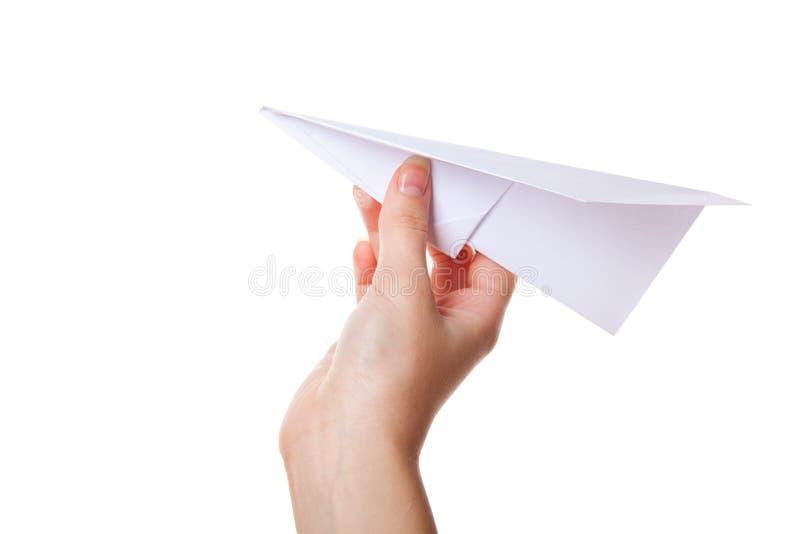 Handstartendes Papierflugzeug lizenzfreies stockfoto