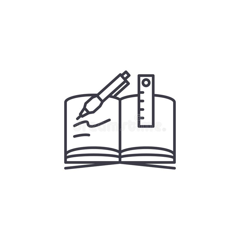 Handstil-bok linjärt symbolsbegrepp Handstil-bok linje vektortecken, symbol, illustration royaltyfri illustrationer