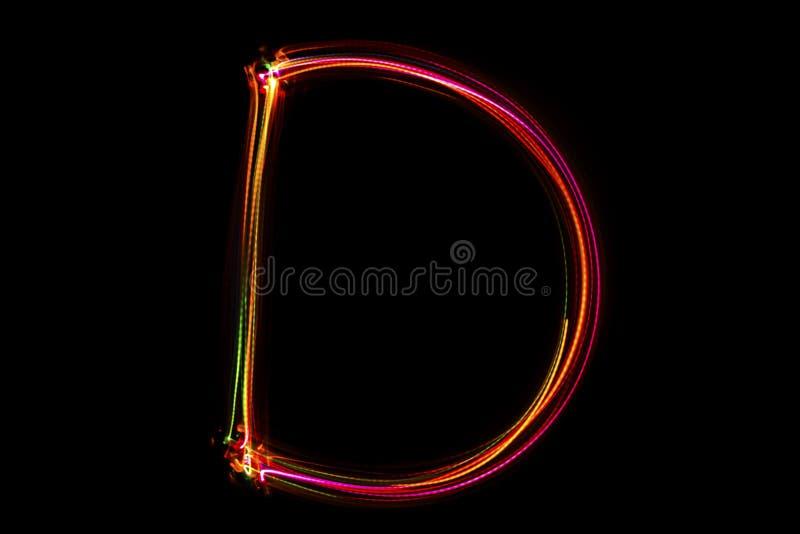 Handstil för ` för ord` D från ljus fotografering för bildbyråer