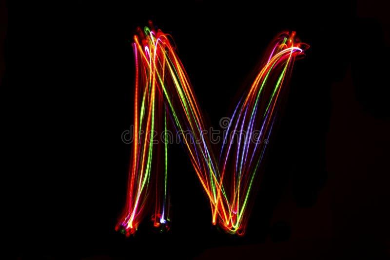 Handstil för ` för ord` N från ljus royaltyfri bild