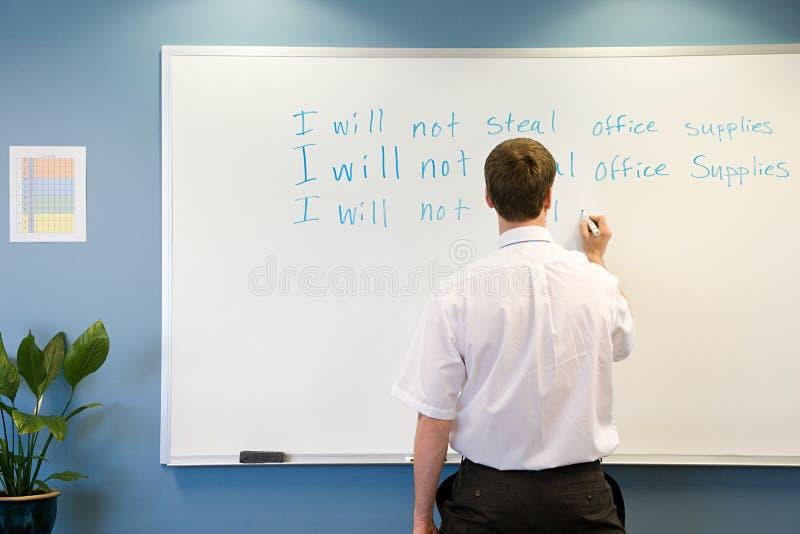 Handstil för kontorsarbetare på whiteboard royaltyfri bild