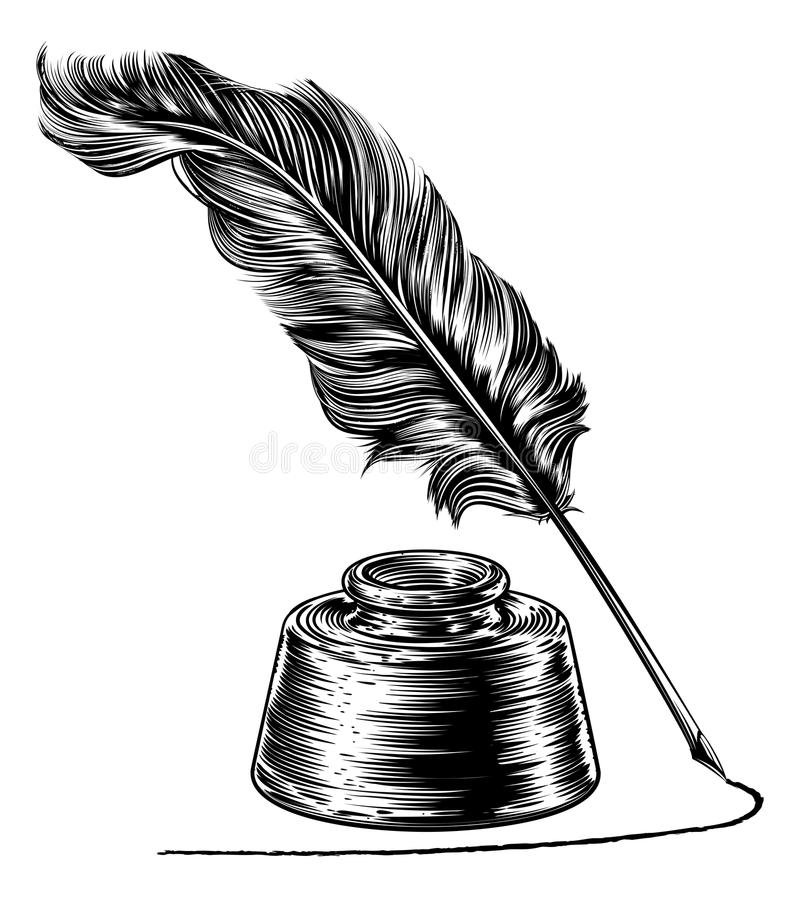 Handstil Quill Feather Pen och färgpulverbrunn stock illustrationer