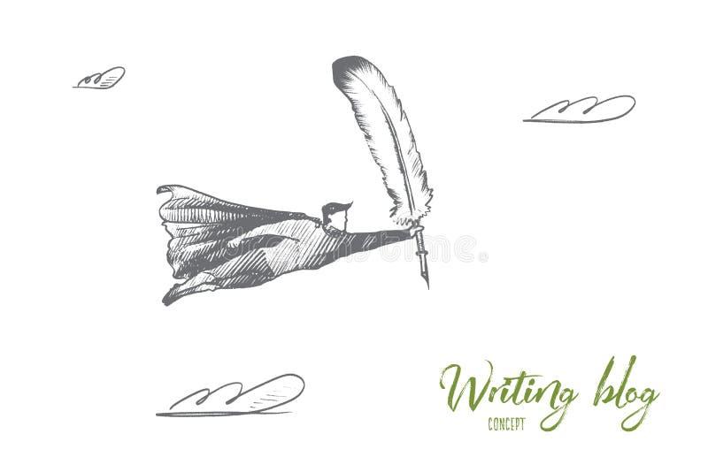 handstilbloggbegrepp Hand dragen isolerad vektor royaltyfri illustrationer