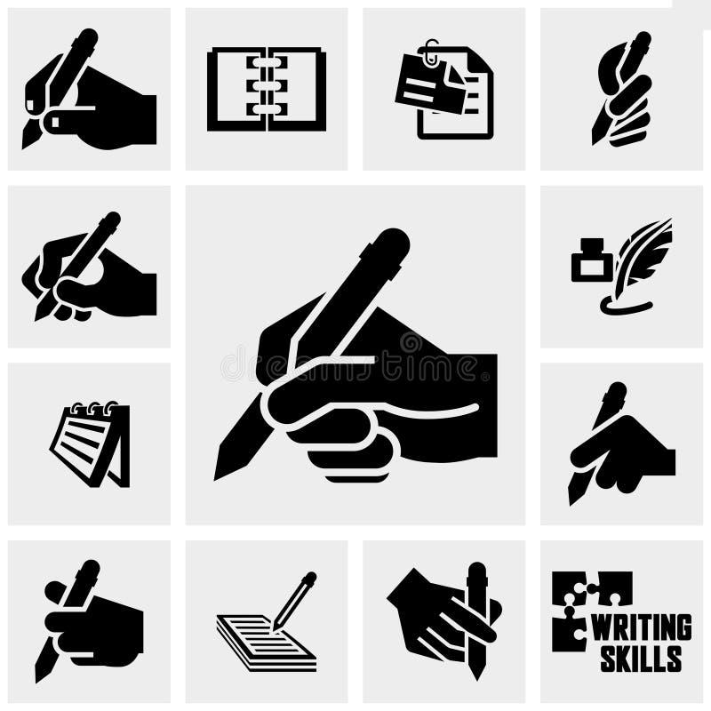 Handstilsymbolsuppsättning på grå färger stock illustrationer
