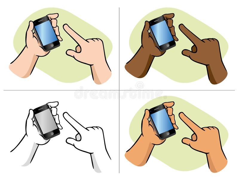 Handtag med hjälp av smartphone-specialberöring stock illustrationer