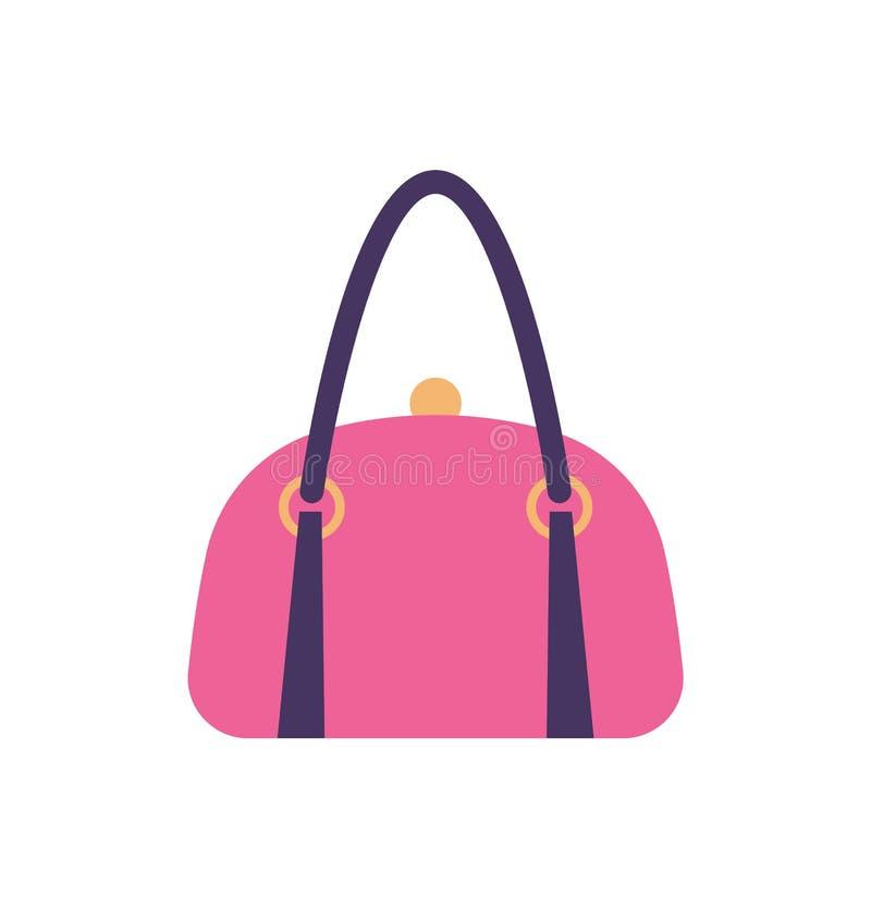 Handtag och gem för baksida för handväska för kvinnarosa färgläder vektor illustrationer