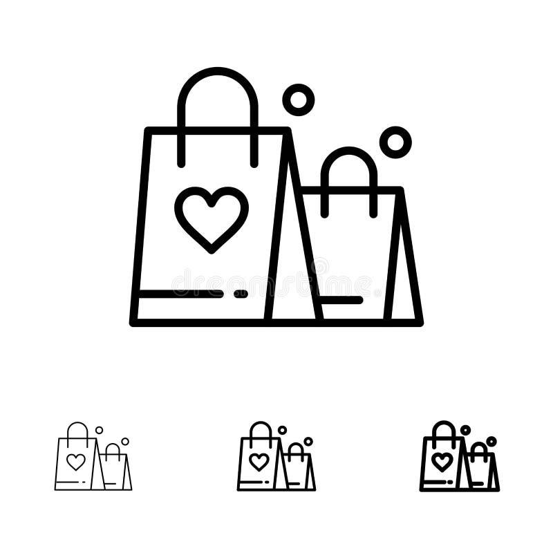 Handtas, Liefde, Hart, het pictogramreeks van de Huwelijks Gewaagde en dunne zwarte lijn stock illustratie