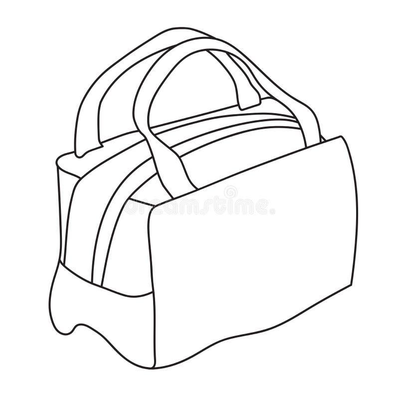 Handtas met handvatten De schetsillustratie van de lijnkunst Zwart-witte vector stock illustratie