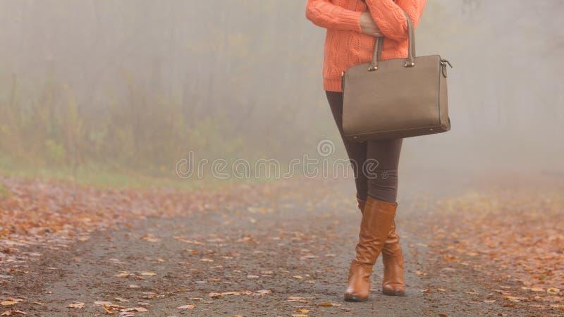 Handtas in vrouwenhanden De manier van de dalingsherfst stock afbeeldingen