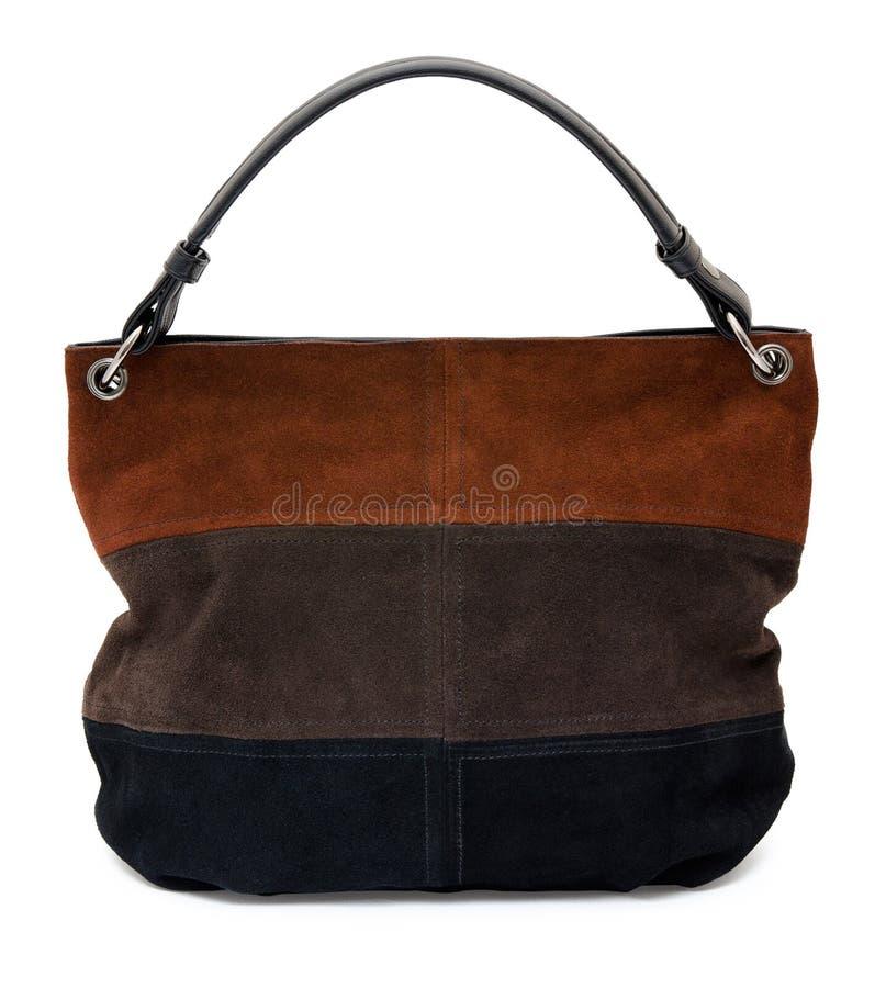 Handtasche der Velourslederdamen stockbild