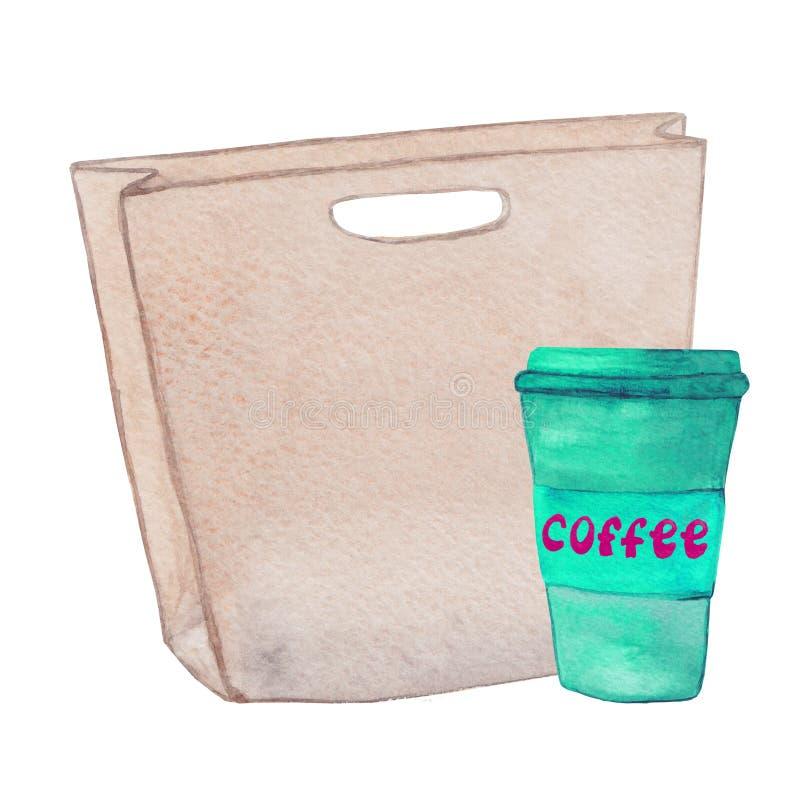 Handtasche mit einem Tasse Kaffee lizenzfreie stockbilder