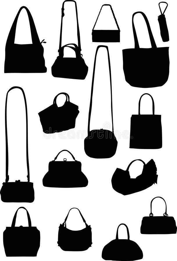 Handtaschenschattenbilder lizenzfreie abbildung