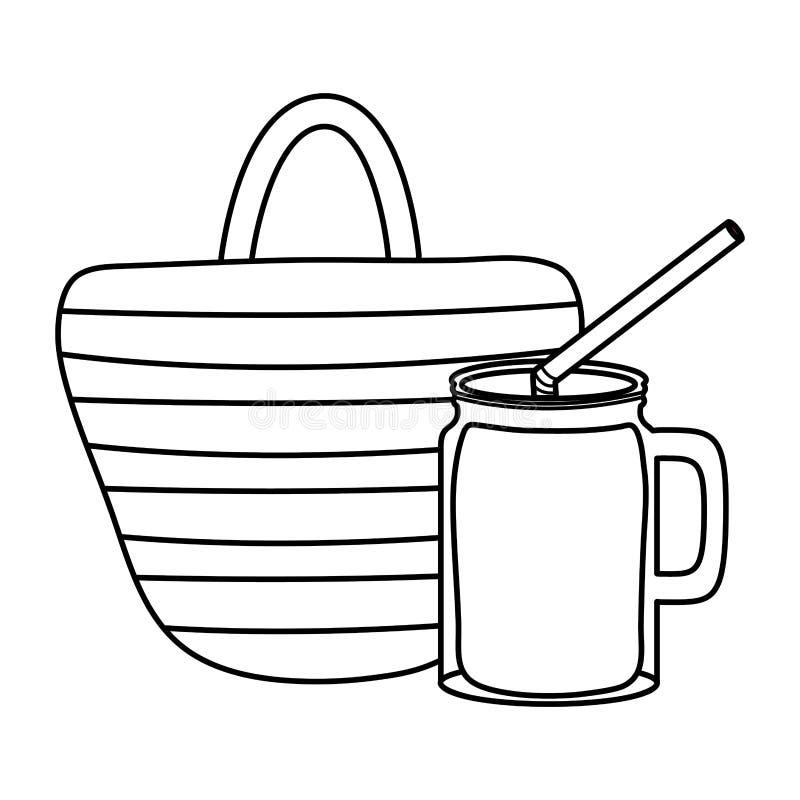 Handtaswijfje met tropische cocktail stock illustratie