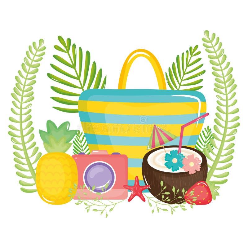 Handtaswijfje met vruchten en fotografische camera vector illustratie