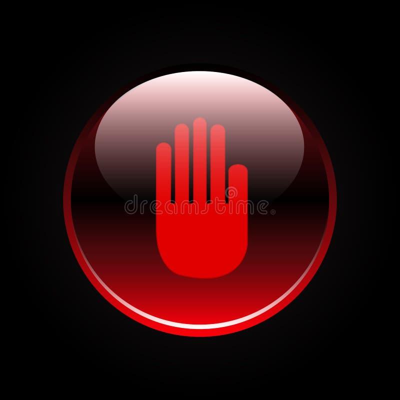 Handtecken på den röda knappen vektor illustrationer