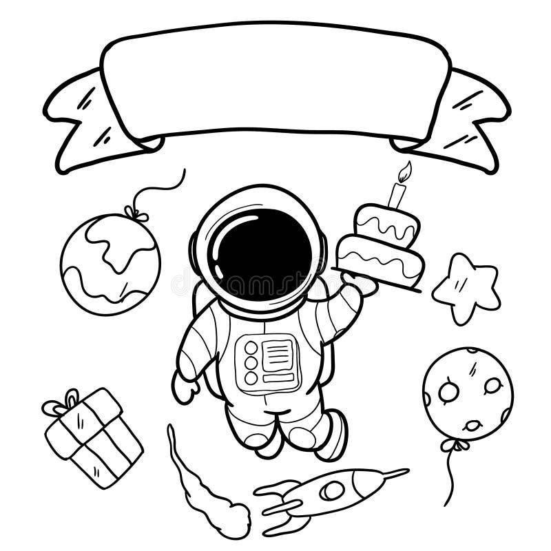 Handteckning av astronaut, födelsedagar royaltyfri illustrationer