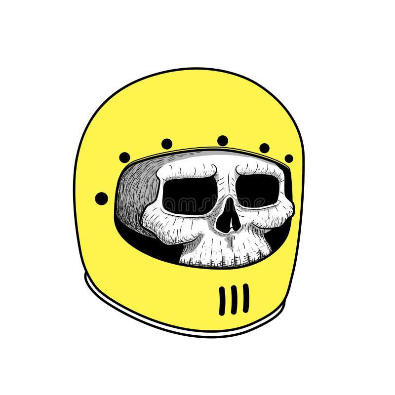 Handteckning av den bärande motorcykelhjälmen för skalle tatueringdiagram royaltyfri illustrationer