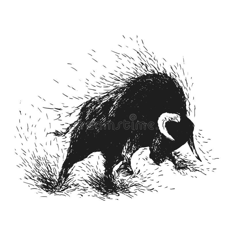 Handteckning av en rasa tjur stock illustrationer