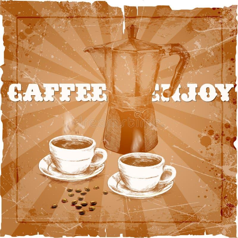 Handteckning av kaffebryggaren och två koppar kaffe royaltyfri illustrationer